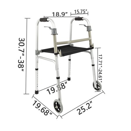 Medical Walker for Elderly, Walker Accessories Included Seat, Trigger Release, Comfort Grip, 5'' Wheels, Medical Supplies Supports up to 350 lb for Rehabilitation Training, for Disabled, S10497