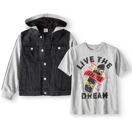 Hooded Denim Jacket with Graphic Tee, 2-Piece Set (Little Boys, Big Boys, & Husky) (Leather Jacket For Boys)
