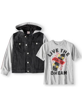 68147c4a7872 Product Image Hooded Denim Jacket with Graphic Tee