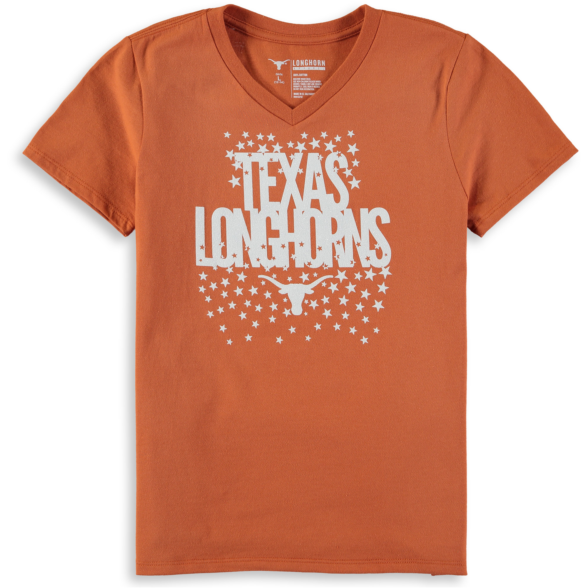 Girls Youth Texas Orange Texas Longhorns Rocki V-Neck T-Shirt