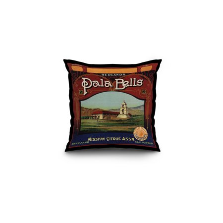Pala Bells Brand   Bryn Mawr  California   Citrus Crate Label  16X16 Spun Polyester Pillow  Black Border