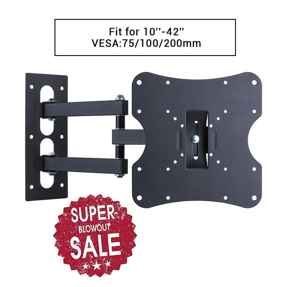 "Lumsing Full Motion Tilt Swivel TV Wall Mount Bracket Stand for 10-42 Inch LCD LED 13"" 15"" 17"" 19"" 20"" 22"" 23"" 24"" 26"" 27"" 29"" 30"" 32"" 36"" 37"" 42"" MAX VESA 200x200mm Weight 66lbs"
