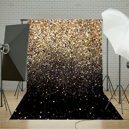 5x7FT Fabric Cloth Backdrop Christmas Party Glitter Black Gold Dots Photo Lighting Studio Props Photography Vinyl Background](Glitter Chevron Background)