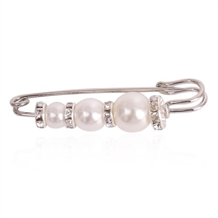 Fancyleo Fashion Safety Pin Brooch Pearl Rhinestone Elegant Temperament Breastpin Pin Unique Scarf Buckle
