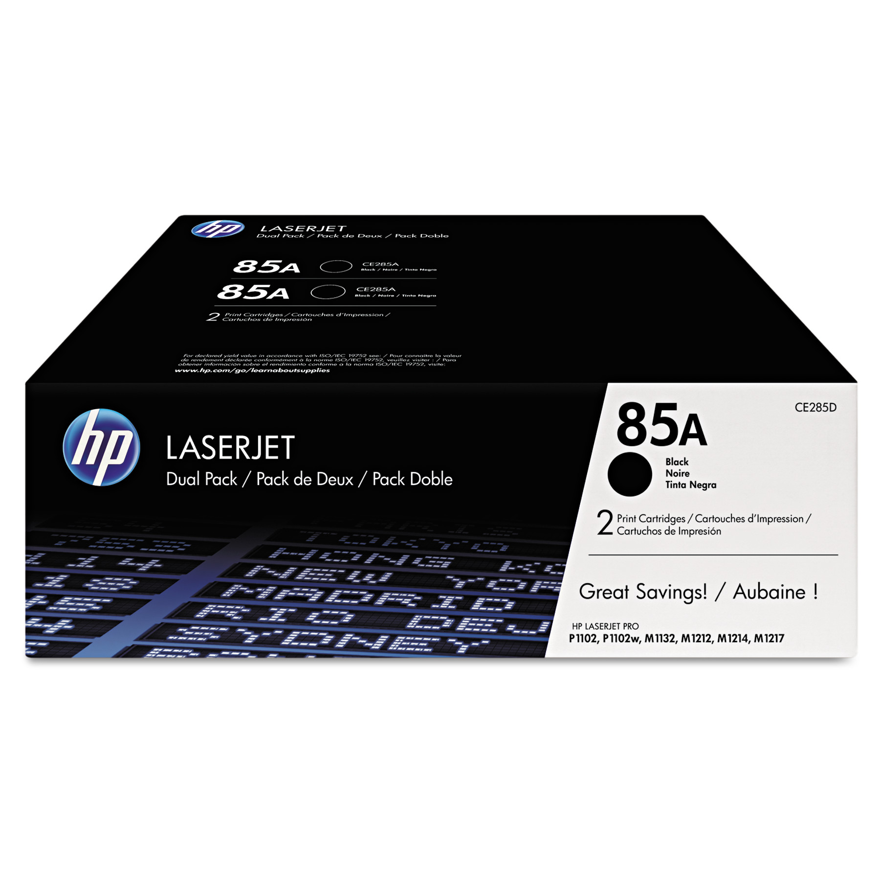 HP 85A, (CE285D) 2-pack Black Original LaserJet Toner Cartridges -HEWCE285D
