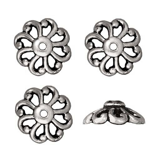 Antiqued Silver Plated Lead-Free Pewter 12mm Open Scalloped Bead Caps 12mm (4)