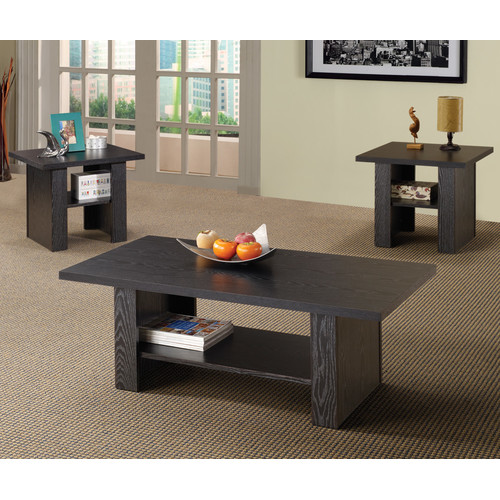 Coaster 3-Piece Table Set, Rich Black Finish