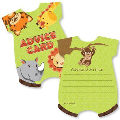 Onesie Baby Shower Game (Funfari - Fun Safari Jungle - Baby Bodysuit Wish Card Baby Shower Activities - Shaped Advice Cards Game - Set of 20)