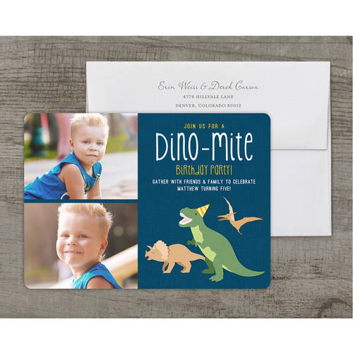 Dino-mite Party Deluxe Birthday Young Boy Invitation