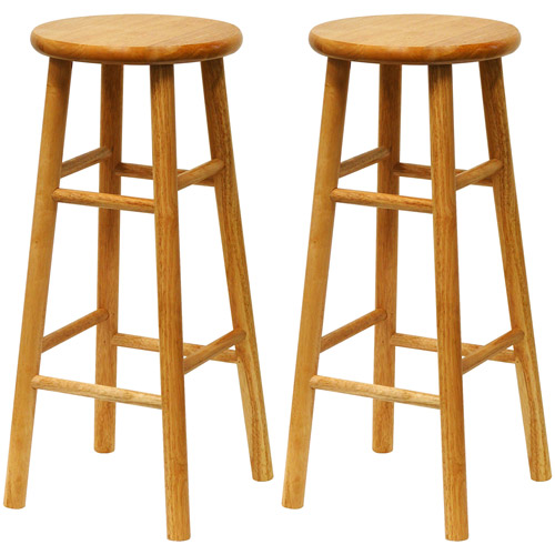 "Beech Wood Bar Stools 30"", Set of 2, Natural"