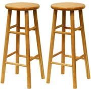 Wood Beveled Seat Kitchen Stool 24 Quot Set Of 2 Cherry