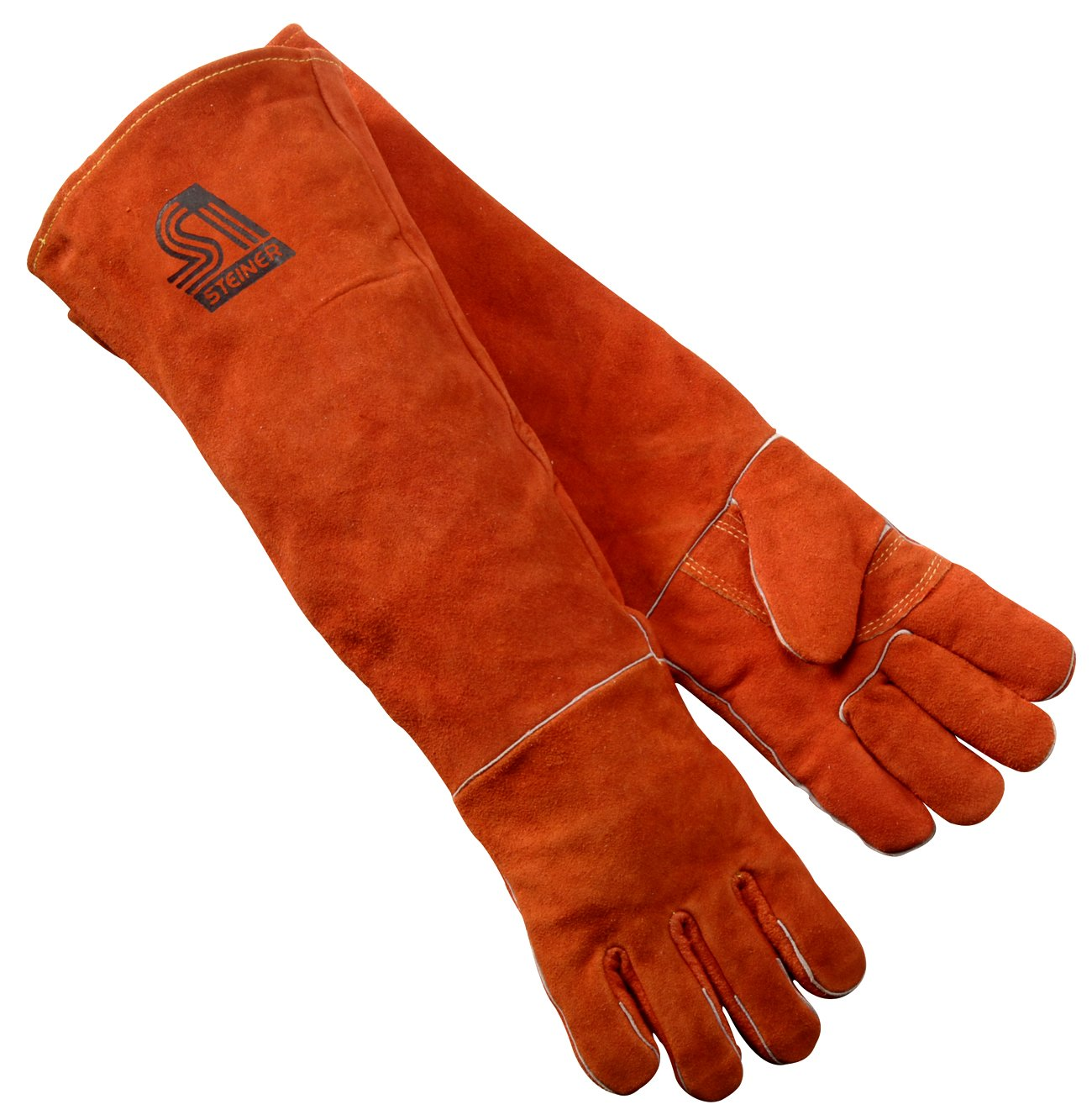 "Steiner STI-21923 Welding Gloves, Y-series, 23"" Shoulder Split Cowhide, Foam Lined, Burnt Orange"