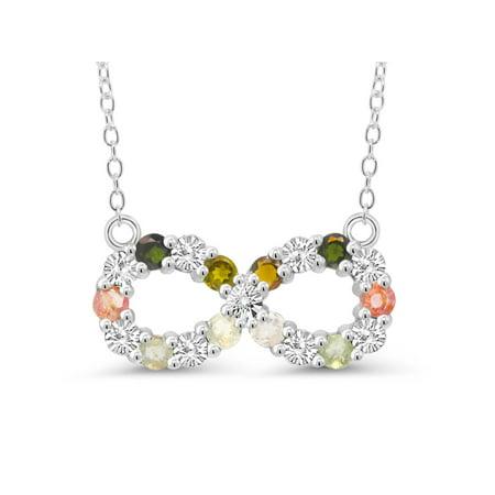 925 Silver Multi-Color Tourmaline & Diamond Accent Infinity Pendant on 16