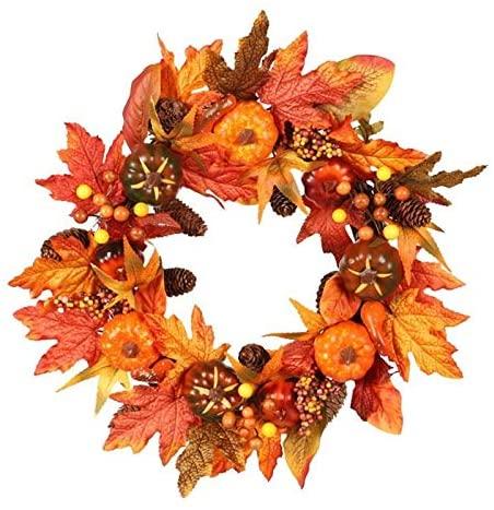 21 65 Inch Halloween Pumpkin Wreath Autumn Harvest Door Garland Thanksgiving Supplies 667a For Front Door Wall Window Decor And Thanksgiving Color Natural Walmart Canada