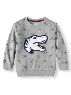 365 Kids from Garanimals French Terry Print Sweatshirt With Elbow Patches (Little Boys & Big Boys)