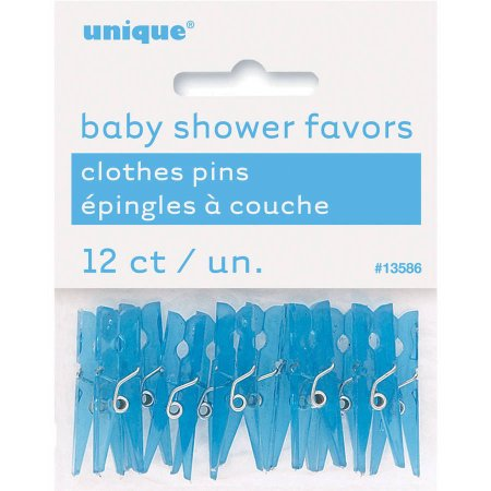 (3 Pack) Mini Plastic Clothespin Baby Shower Favor Charms, 1.25 in, Blue, 12ct