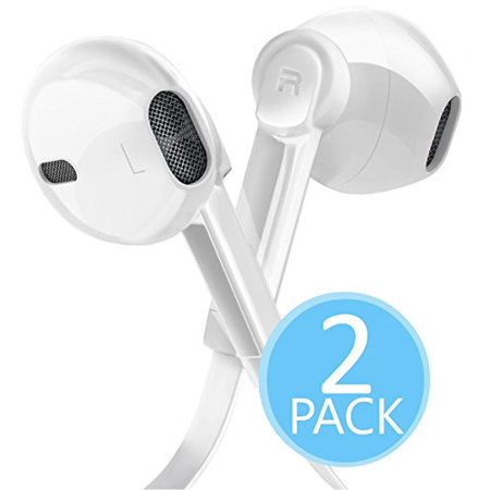 2-PACK Certified 3.5mm In Ear Headphones with Microphone and Volume Control, Dual Drivers Earphones with HiFi Audio, Deep Bass for Noise Isolating, Compatible with Apple Headphones, Samsung, (Audio Volume Control)