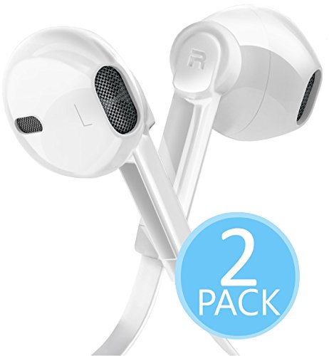 2-PACK Certified 3.5mm In Ear Headphones with Microphone and Volume Control, Dual Drivers Earphones with HiFi Audio, Deep Bass for Noise Isolating, Compatible with Apple Headphones, Samsung, Android