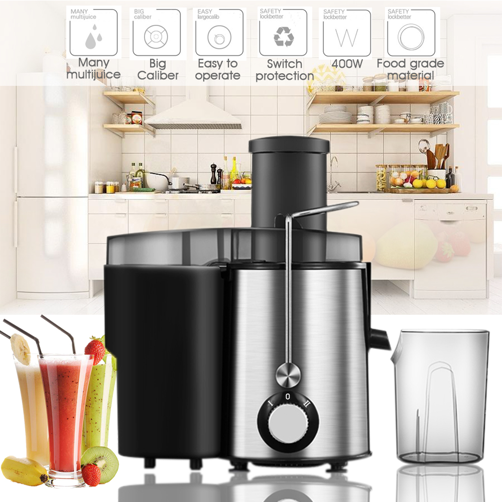 110V 400W 1L Fruit & Vegetable Juicer, Juice Container, Electric Juice Machine Fruit Extractor High-speed (21000 rev/min)