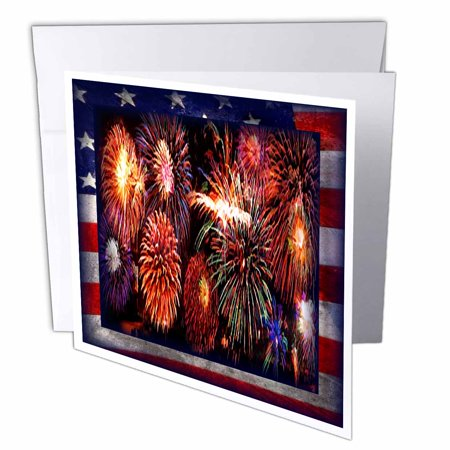 3dRose Fireworks on the 4th, Greeting Cards, 6 x 6 inches, set of 12