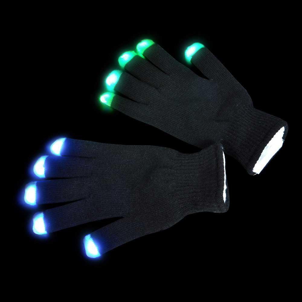 LED Rave Flashing Gloves Glow 7 Mode Light Up Finger Tip Lighting 1 Pair Black