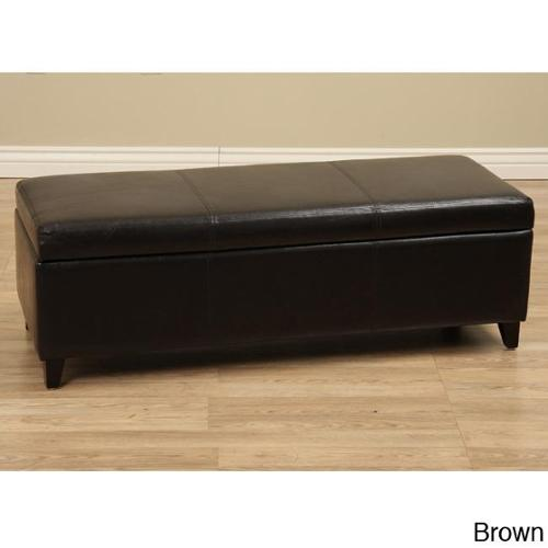 Warehouse of Tiffany Sharon Faux  Leather Storage Bench Brown