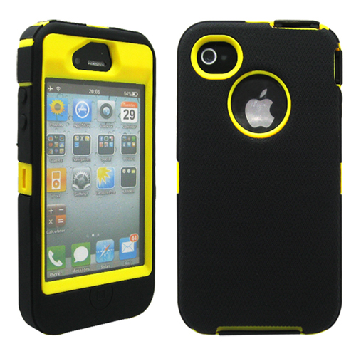 Black & Yellow Three Layer Silicone PC Heavy Duty Rugged Protective Case Cover for iPhone 4 4G 4S