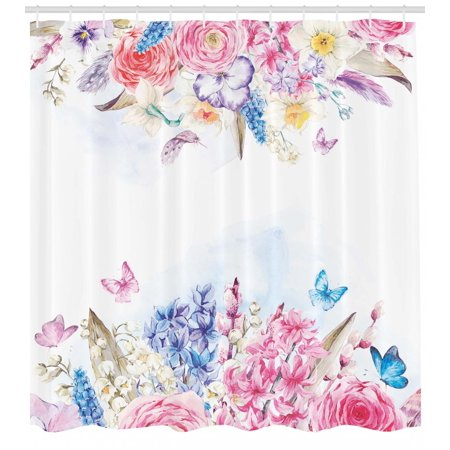 Shabby Chic Shower Curtain Romantic Garden Roses And Daisy Flowers Leaves Print Fabric Bathroom Set With Hooks Pink Purple Pale Blue Coral By Ambesonne