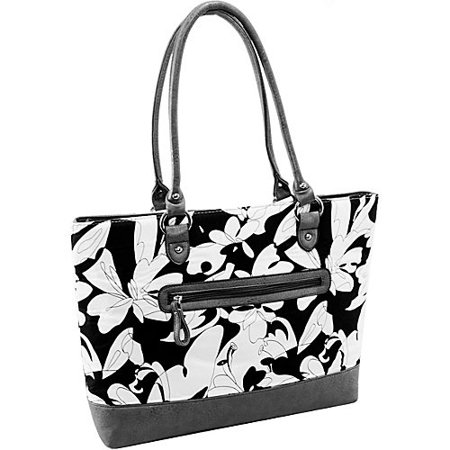 Quilted Fabric with Croco Faux Leather Tote in Black Floral