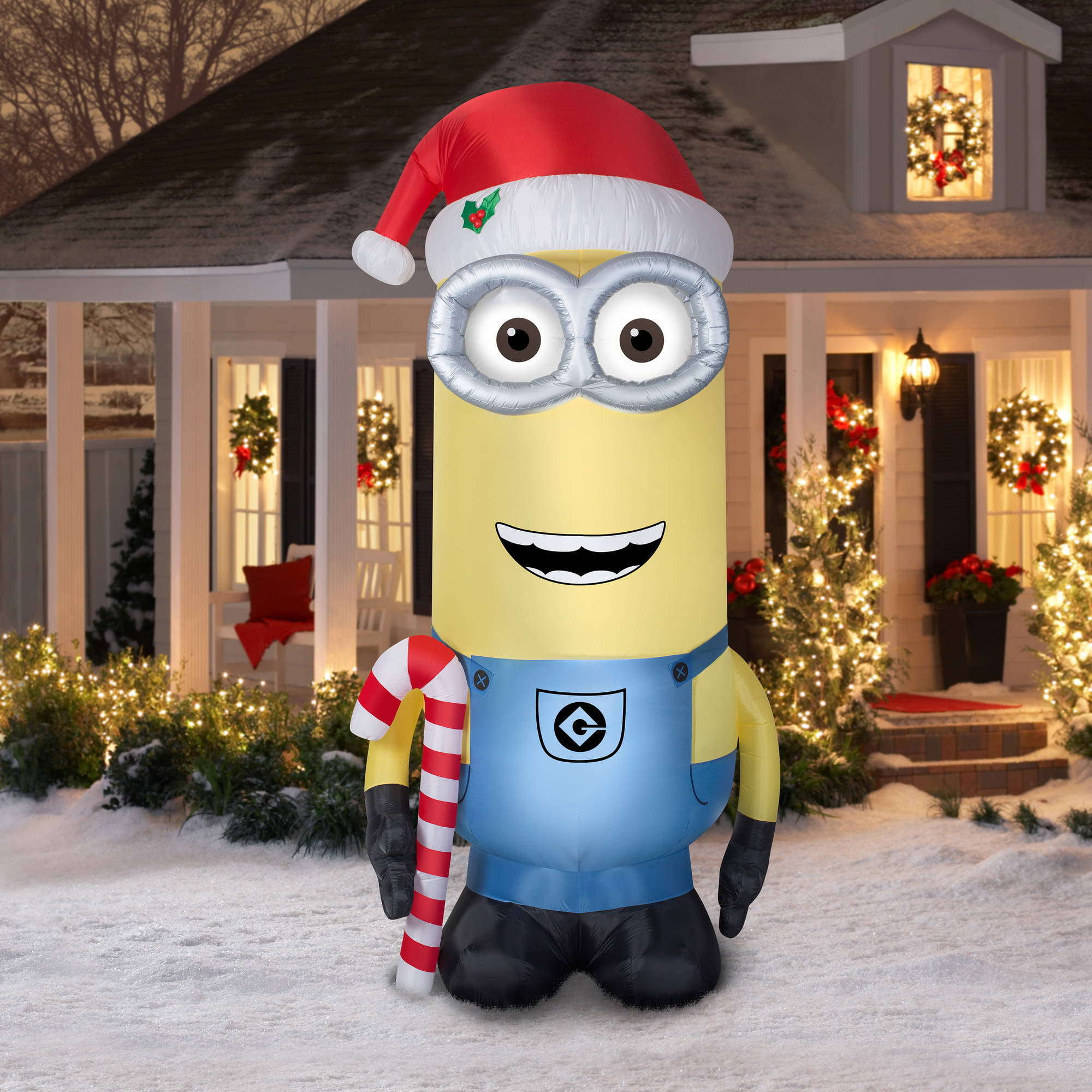 airblown inflatables 11 ft minion kevin with candy cane and santa hat walmartcom - Huge Inflatable Christmas Decorations