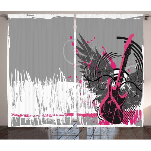 Zoomie Kids Phoebe Music Guitar and Wings Graphic Print & Text Semi-Sheer Rod Pocket Curtain Panels (Set of 2)