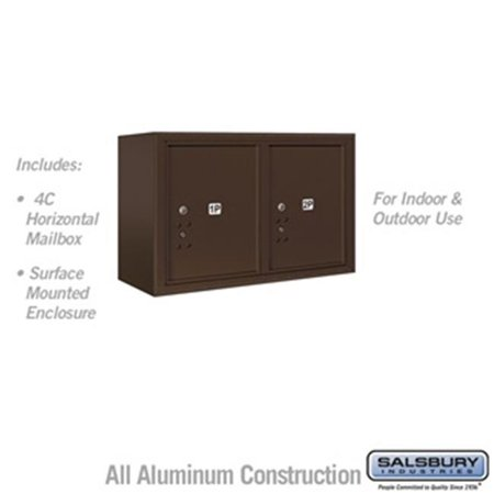 Salsbury 3805D-2PZFU 21-0.125 in. 5 Door High Unit Double Column Stand Alone Parcel Locker 2 PL5s Front Loading Surface Mounted 4C Horizontal Mailbox Unit, Bronze - USPS Access