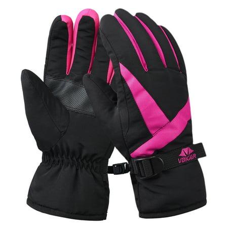 Glove, Women's Waterproof Cuffed Ski Glove Winter Warm Sports (Double Cuff Gloves)