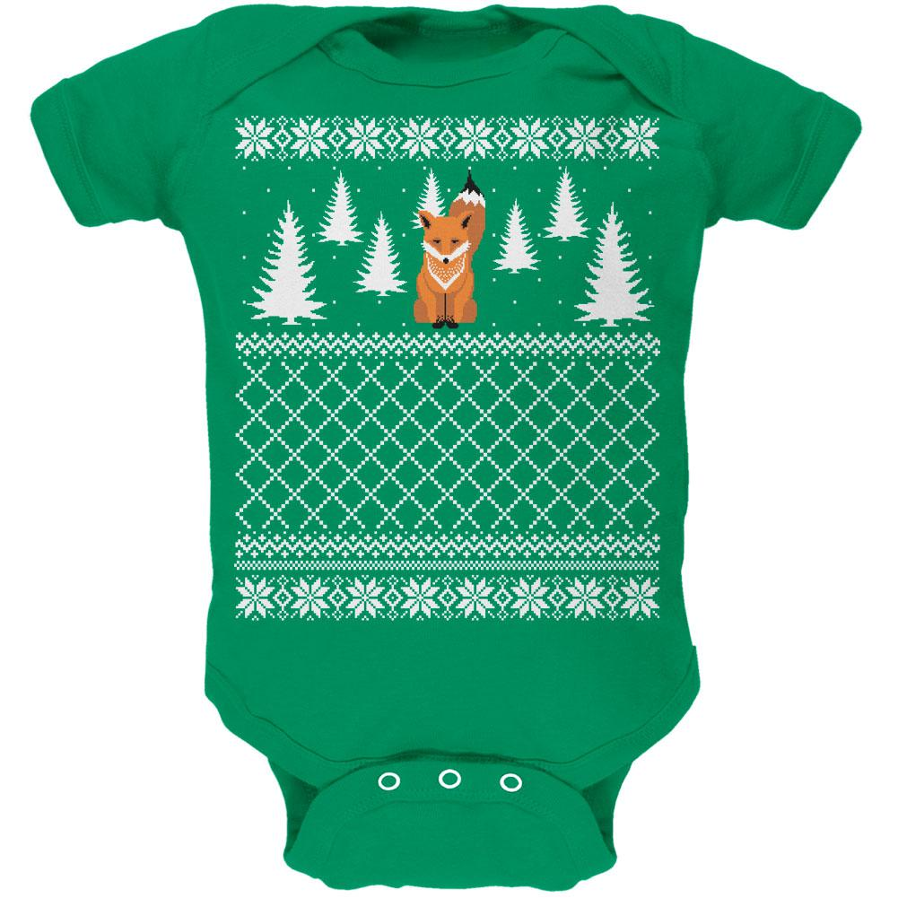 Fox Ugly Christmas Sweater Kelly Green Soft Baby One Piece