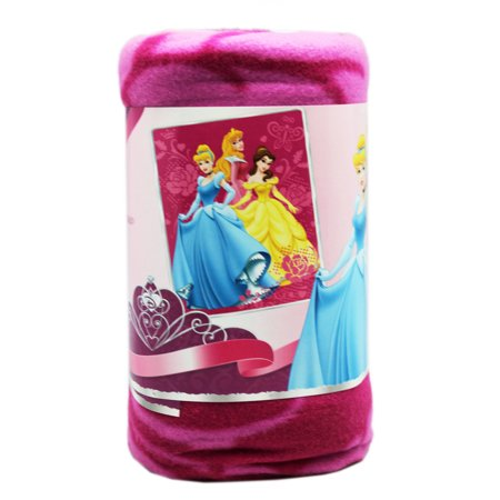 Disney Princess Cinderella, Belle, and Aurora Magenta Floral Throw Blanket Disney Princess Fleece Blanket