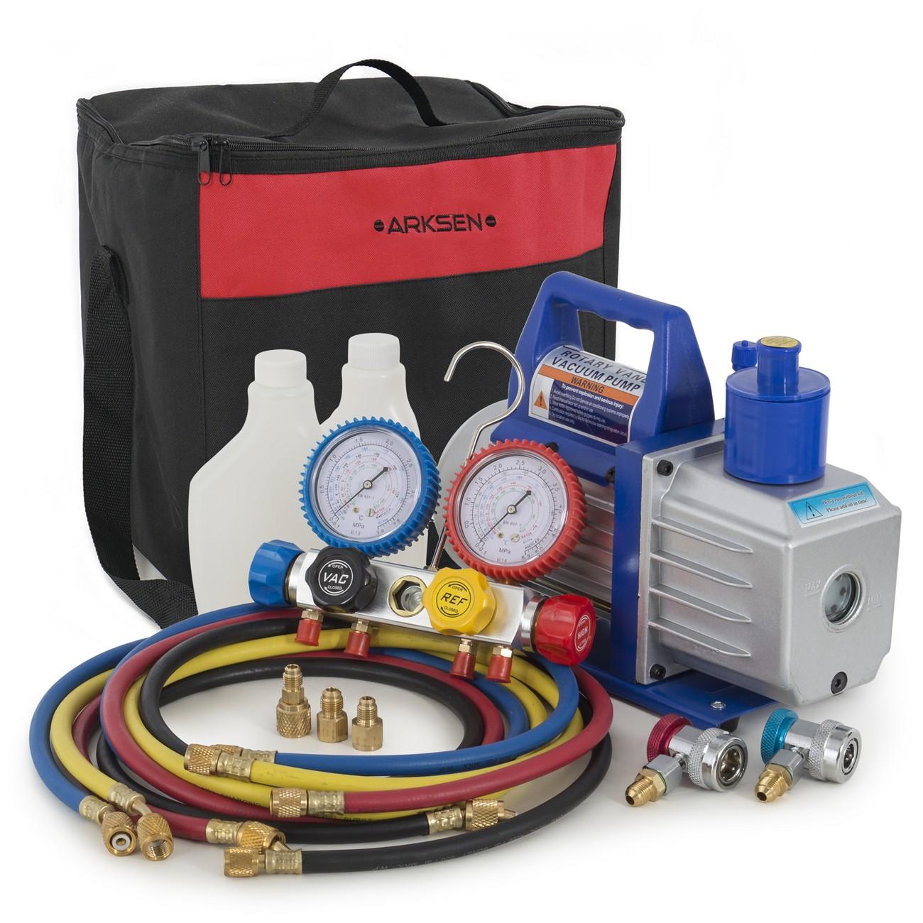 ARKSEN 5CFM Air Vaccum Pump HVAC Refrigeration AC Manifol...
