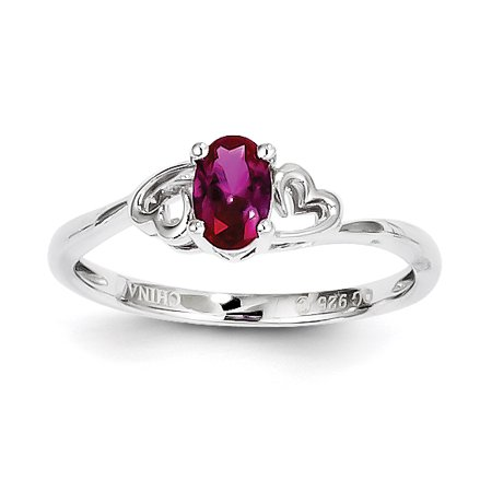 Roy Rose Jewelry Sterling Silver Created Ruby Ring   Size 7