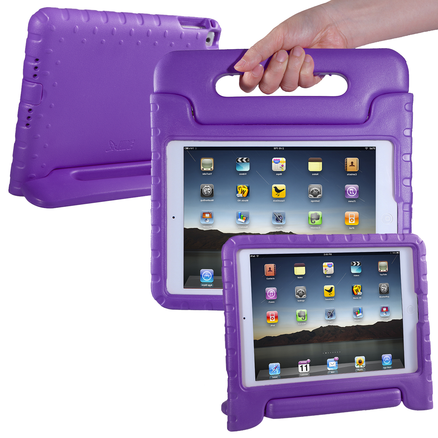HDE 2017 iPad Case for Kids with Handle Stand Lightweight Shock Proof Cover for Apple iPad (7th Generation iPad, March 2017 Release, Purple)