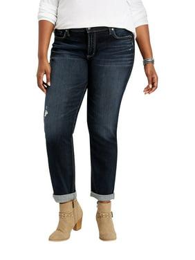 Plus Size Silver Jeans Co. Dark Stitch Rolled Boyfriend Jean