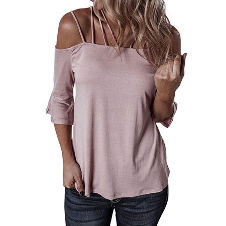 711ONLINESTORE Women Spaghetti Straps Cut Out Off Shoulder Flare Sleeve T-shirt