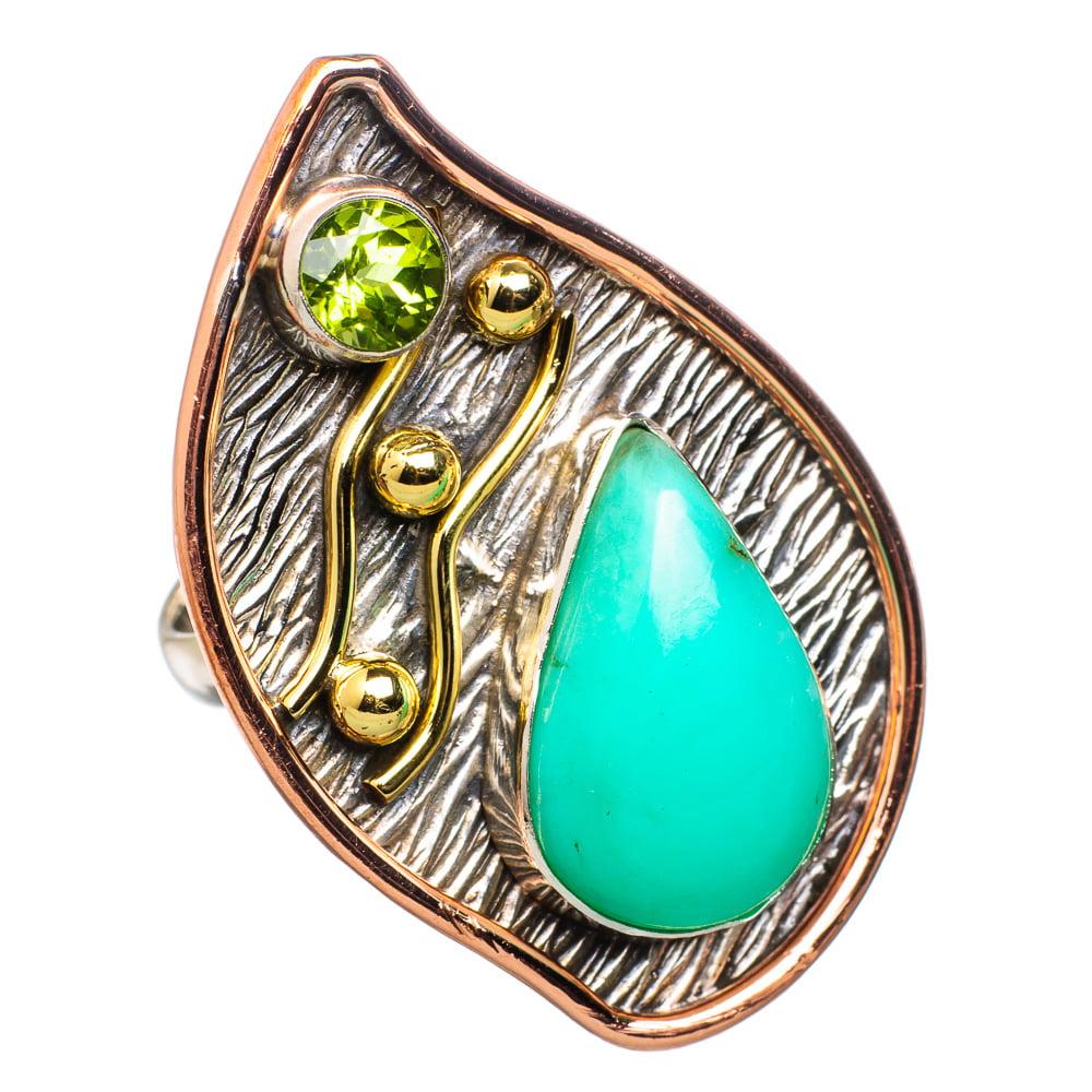 Ana Silver Co Large Chrysoprase, Peridot 925 Sterling Silver Ring Size 6.75 RING829318 by Ana Silver Co.