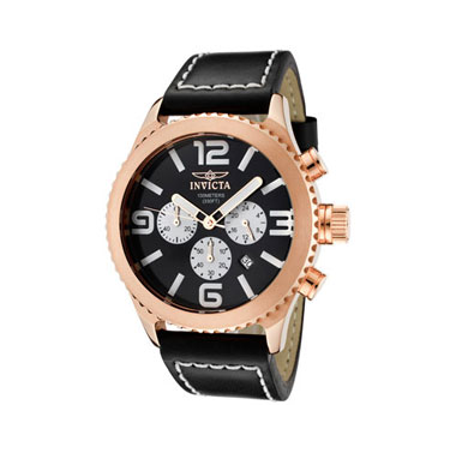 Invicta Men's Invicta II Chronograph Genuine Leather - Rose Gold/Black