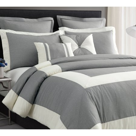 Cozy Beddings 4pc Chaz Comforter Set Light Grey, Full Size Ivory Stripe Bed -