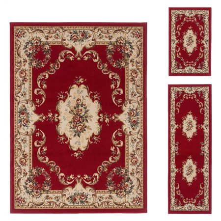 3 Pc Traditional Area Rug Set In Red Walmart Com