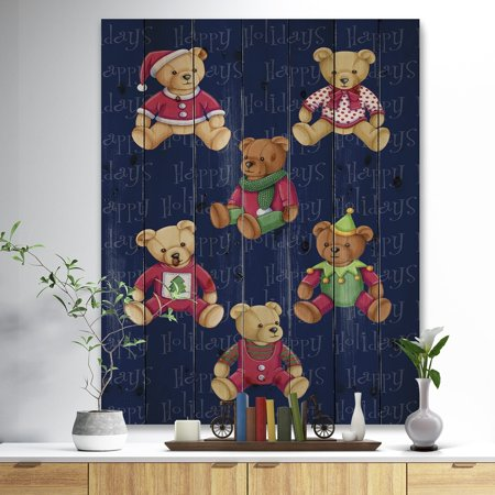 Happy Holidays Christmas Bears' Print on Natural Pine Wood - Red ()