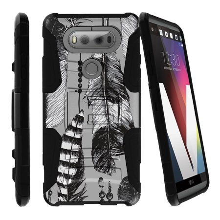 LG V20 Case | V20 Case Shell [Clip Armor]- Premium Defender Case Hard Shell Silicone Interior with Kickstand and Holster by Miniturtle® - Black and White Feathers