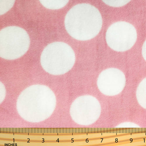 Shason Textile (2 Yards cut) POLAR FLEECE FABRIC 100% POLYESTER ANTI-PILL, New Large Fun Dots, Available in Multiple Colors