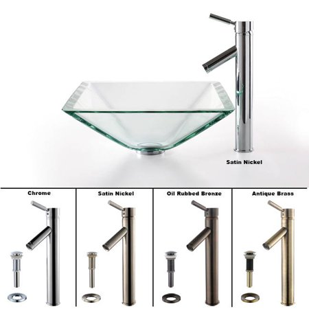 Kraus Square Glass Vessel Sink In Clear With Sheven Faucet In Satin