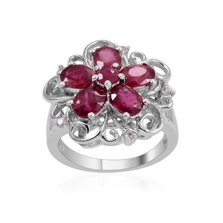 Gemstone Oval Ring - 925 Sterling Silver Platinum Plated 2.1 Cttw Oval Fissure Filled Ruby, Multi Gemstone Ring