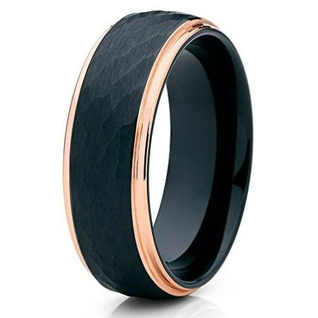 Tungsten Wedding Band 18K Rose Gold Tungsten Ring Hammered Black Tungsten Ring 8mm Men Women Comfort Fit